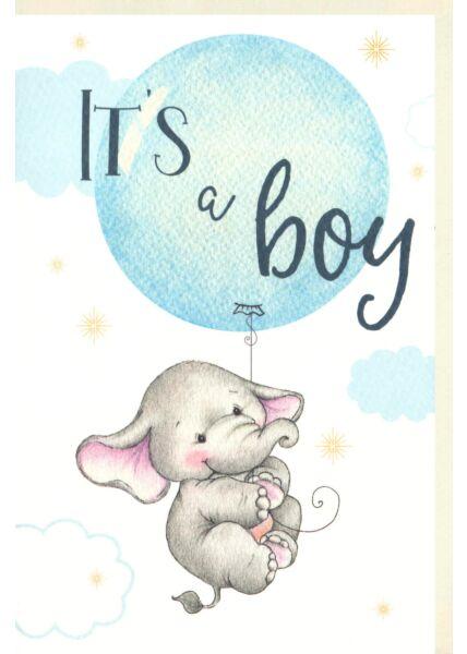Karte Geburt Baby It´s a boy Naturpapier