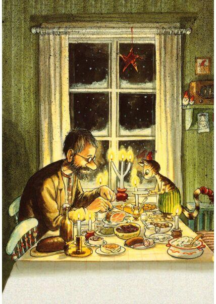 Postkarte Pettersson und Findus Abendessen unter Kerzen