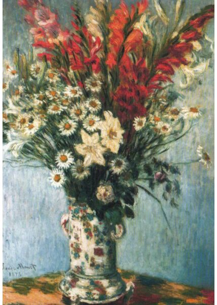 Kunstkarte Claude Monet - Bouquet of Gladioli, Lillies and Daisies