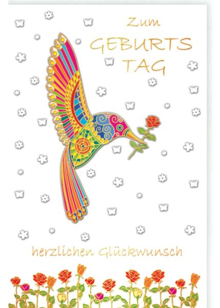 Glückwunschkarte Geburtstag Vogel mit Blume, Naturkarton, mit Goldfolie