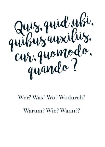 Postkarte Spruch Wer? Was? Wo? Wodurch?...(in Latein)