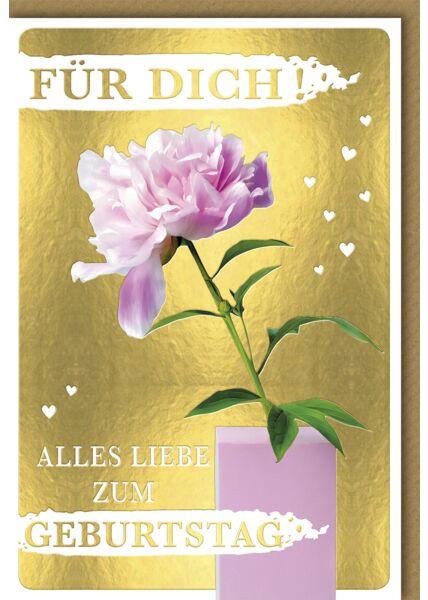 """Glückwunschkarte Geburtstag """"Für Dich!"""" Blume in Vase"""