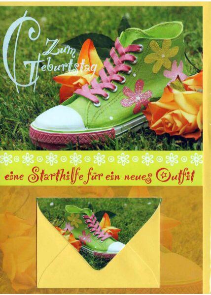 Geburtstagskarte mit Geldfach: Sneaker bunt