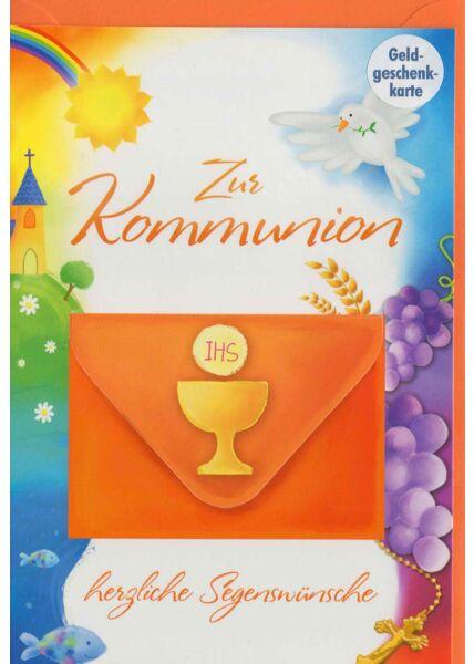 Glückwunschkarte zur Erstkommunion mit Geldfach