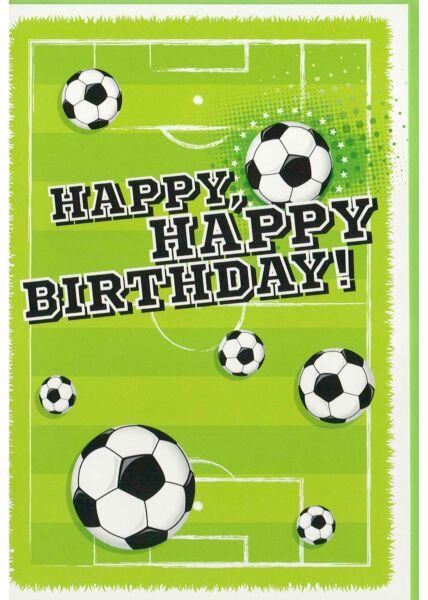 Geburtstagskarte für Fußballer mit Fußbällen