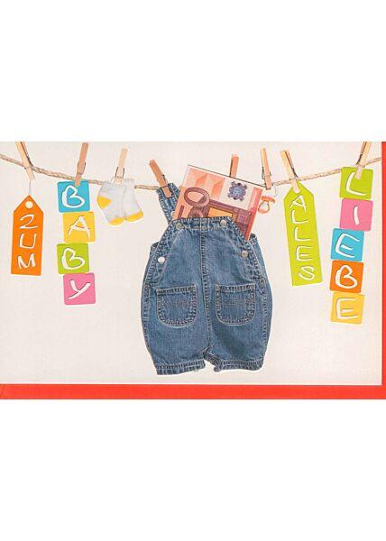 Glückwunschkarte Geburt Wäscheleine Geld