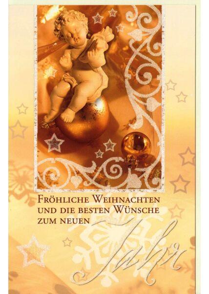 Karte Weihnachten Engel gold hochformat