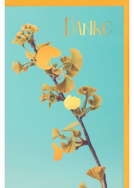 Grußkarte Danke Blätterzweig, mit Blindprägung und Goldfolie