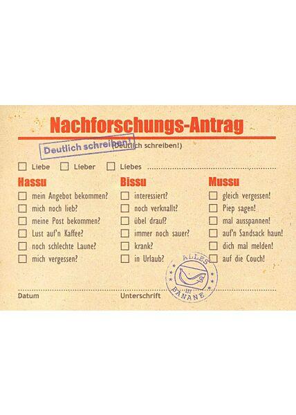 Postkarte Nachforschungs-Antrag