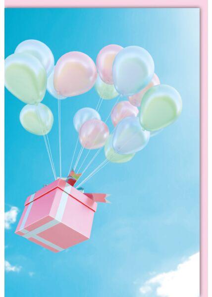 Blankokartekarte - Geschenk an Luftballons