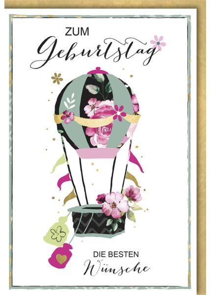 "Geburtstagskarte premium originell Heißluftballon ""Blumenoptik"""