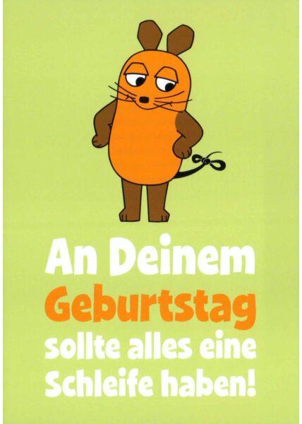 Maus-Postkarte Geburtstag mit Schleife