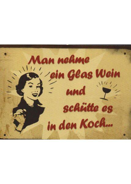 Postkarte Sprüche Man nehme ein Glas Wein.