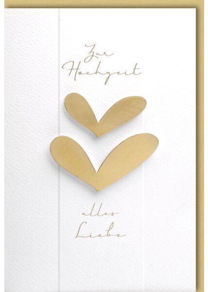 Glückwunschkarte Hochzeit zwei goldene Herzen