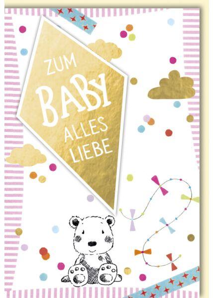 Glückwunschkarte zur Geburt sitzender Teddybär mit Drachen