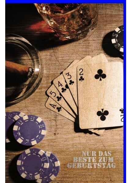 Geburtstagskarte für Männer Spielkarten und Pokerchips, mit Silberfolie