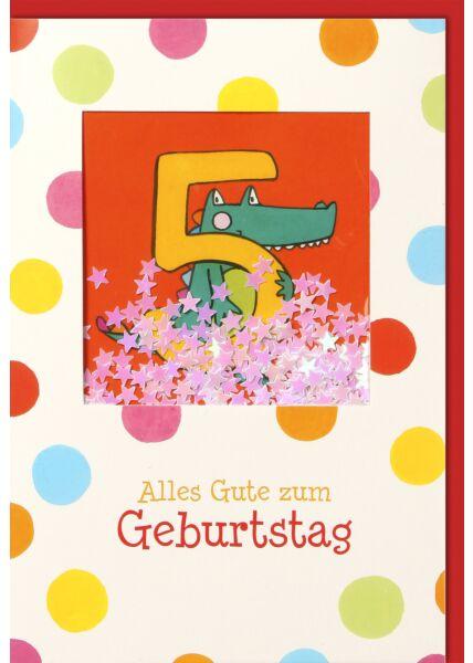 Geburtstagskarte für Kinder 5. Geburtstag Schüttelkarte, Grünes Krokodil