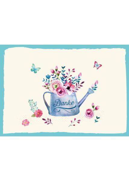Postkarte Danke Gießkanne Blumen Schmetterlinge Danke