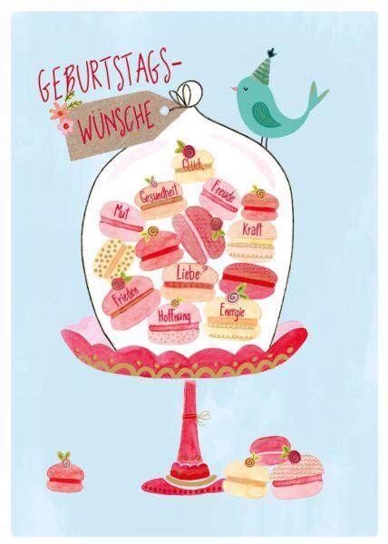Geburtstagspostkarte Geburtstagswünsche Mut, Gesundheit, Glück