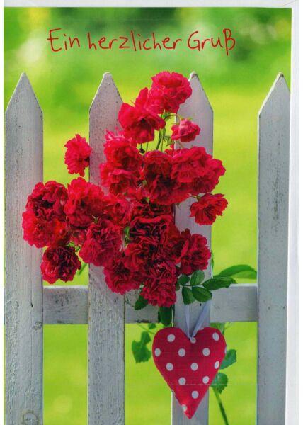 Grußkarte: Blumen am Zaun mit Herz