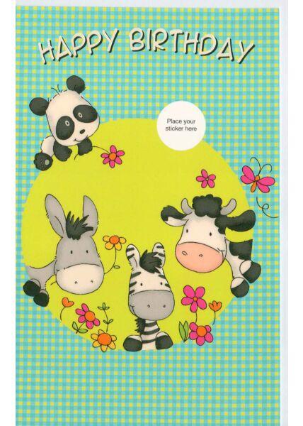 Geburtstagskarten für Kinder Happy Birthday mit Tieren
