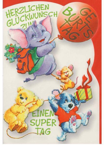 Geburtstagskarte Kinder Elefant Ballon