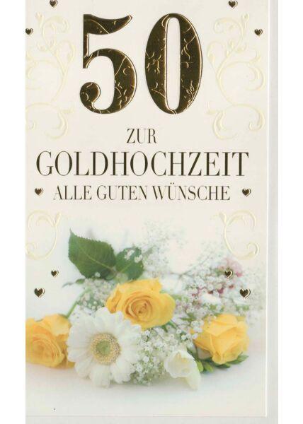 Glückwunschkarte goldene Hochzeit Blumenstrauß