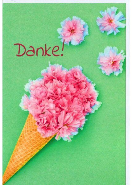 Grußkarte Danke Eis Blumen