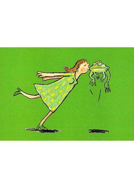 Postkarte Frosch küssen