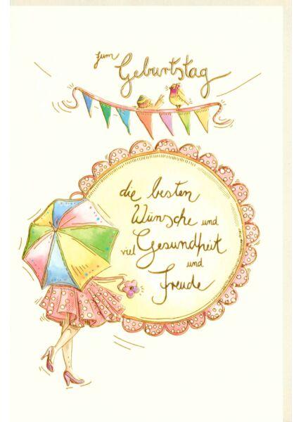 Karte Geburtstag premium Naturkarton Regenschirm Girlande