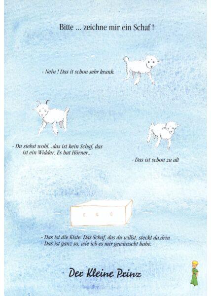 Postkarte Der kleine Prinz Bitte zeichne mir ein Schaf!