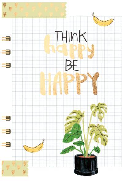 Postkarte Spruch Think happy be happy