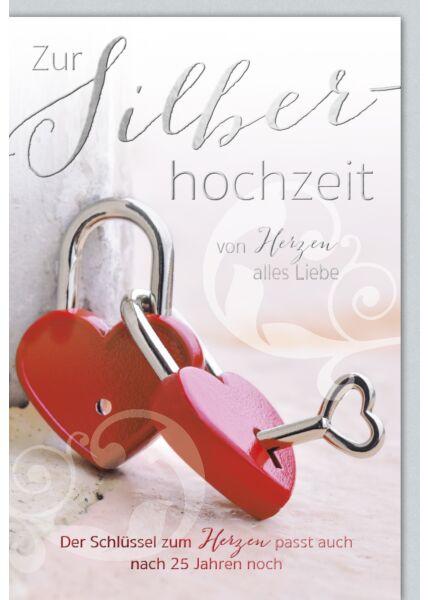 Glückwunschkarte Silberhochzeit Schlüssel Schloss Herz