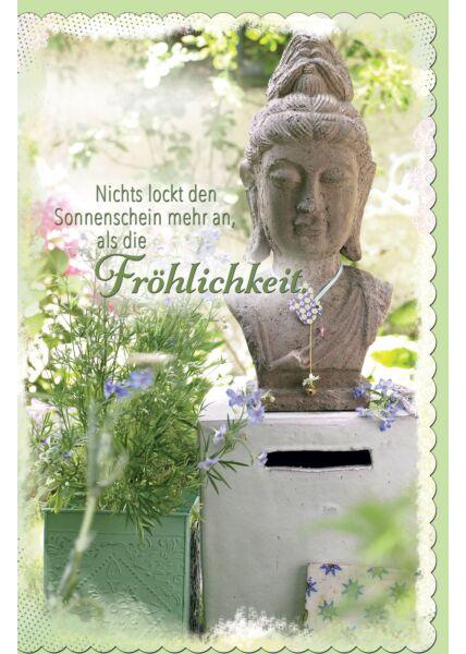 Grußkarten Buddhakopf aus Stein, gestanzt, welliger Rand
