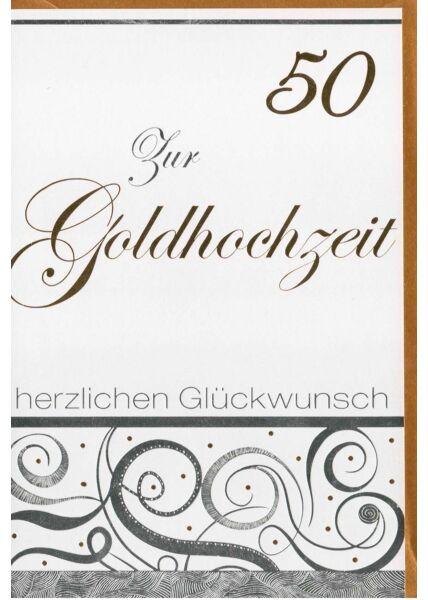 Glückwunschkarte Goldhochzeit Folienprägung und goldenes Kuvert