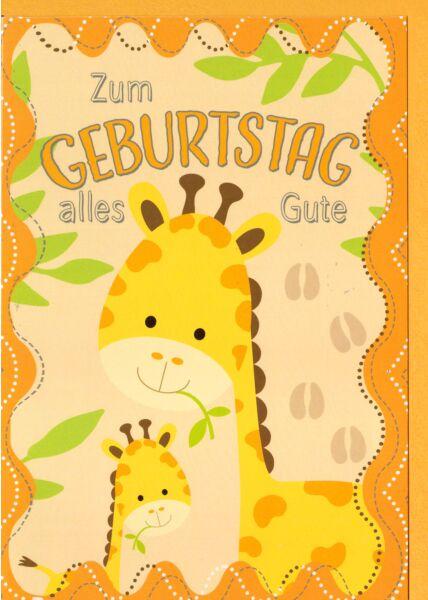 Kindergeburtstagskarte Kleine und große Giraffe, Blätter, Spuren