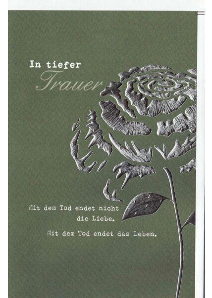 Trauerkarte Blume, Naturkarton, mit Silberfolie und Blindprägung