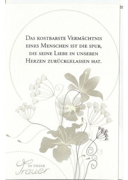 Trauerkarte Blüten und Blätter, Naturkarton, mit Silberfolie