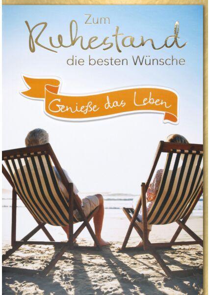 DIN A4, Maxi, XXL Ruhestandskarte - Personen in Liegestühle am Strand
