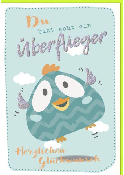 Geburtstagskarte Maxi, XXL türkiser Vogel A4