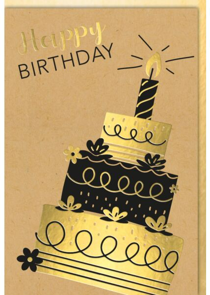 Geburtstagskarte Kraftpapier Dreistöckige Torte