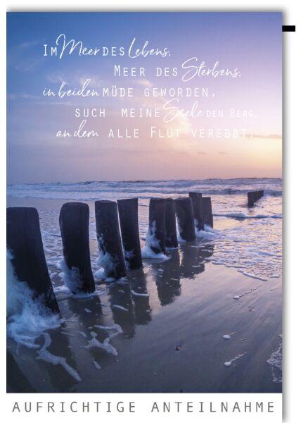 Trauerkarte Wellenbrecher Aufrichtige Anteilnahme