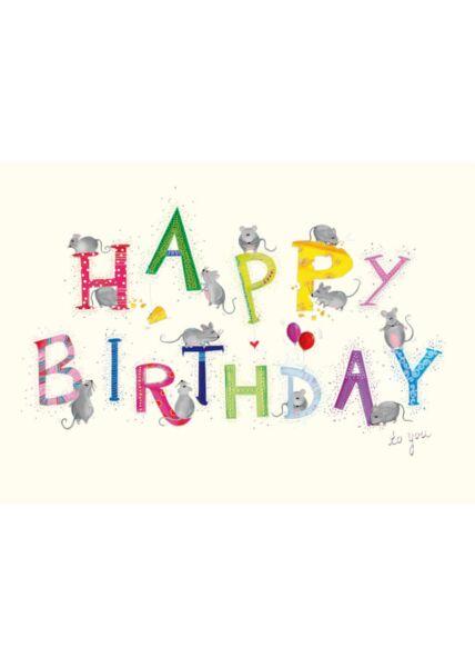 Postkarte Geburtstag Happy Birthday Mäuse