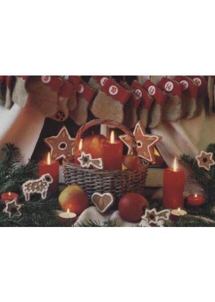 Klassische Weihnachtskarte blanko: Adventskalender