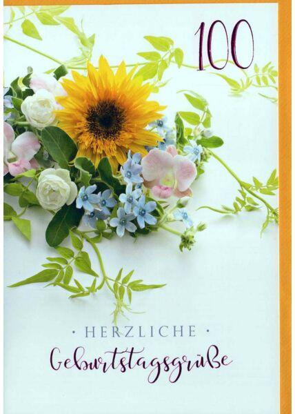Geburtstagskarte 100. Geburtstag: Blumenstrauß auf gelb