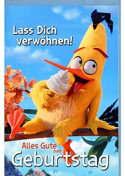 "Kindergeburtstagskarte Angry Birds ""lass Dich verwöhnen"""
