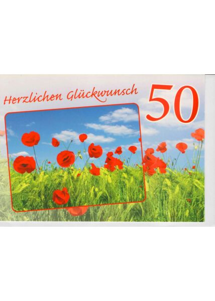 Geburtstagskarte 50 Mohnblumen