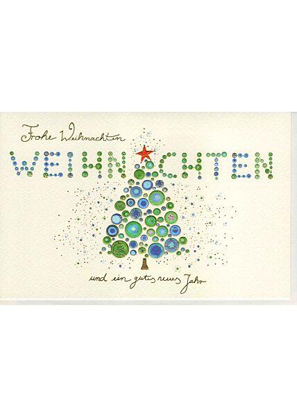 Weihnachtskarte veredelt aufwendig verdelt