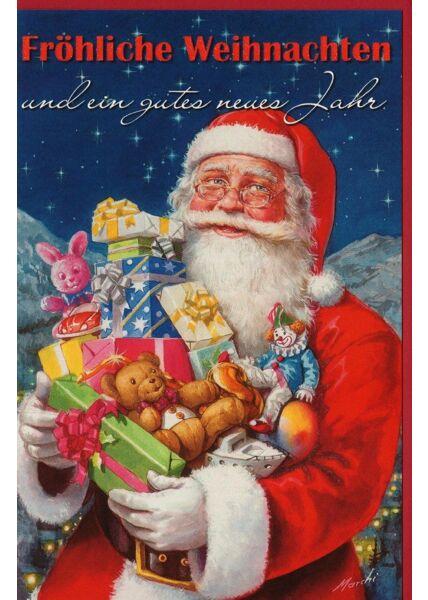 Retro Weihnachtskarte Weihnachtsmann Geschenke