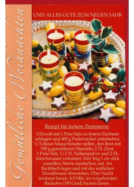 Weihnachtskarte mit Rezept für Zimtsterne